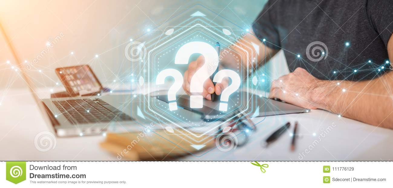 Graphic designer using question marks digital interface 3D rendering