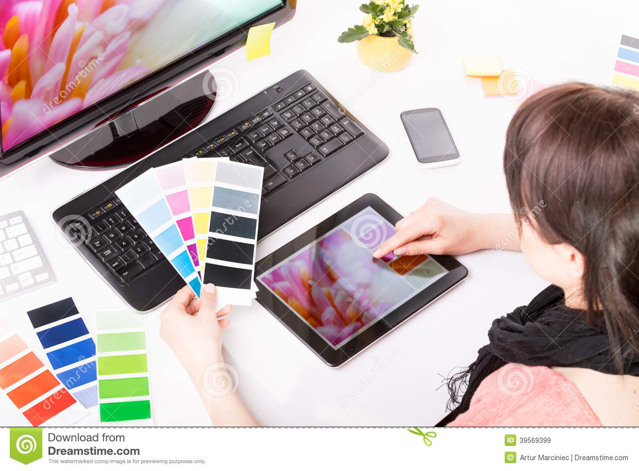 Graphic Designer At Work Color Samples Stock Image