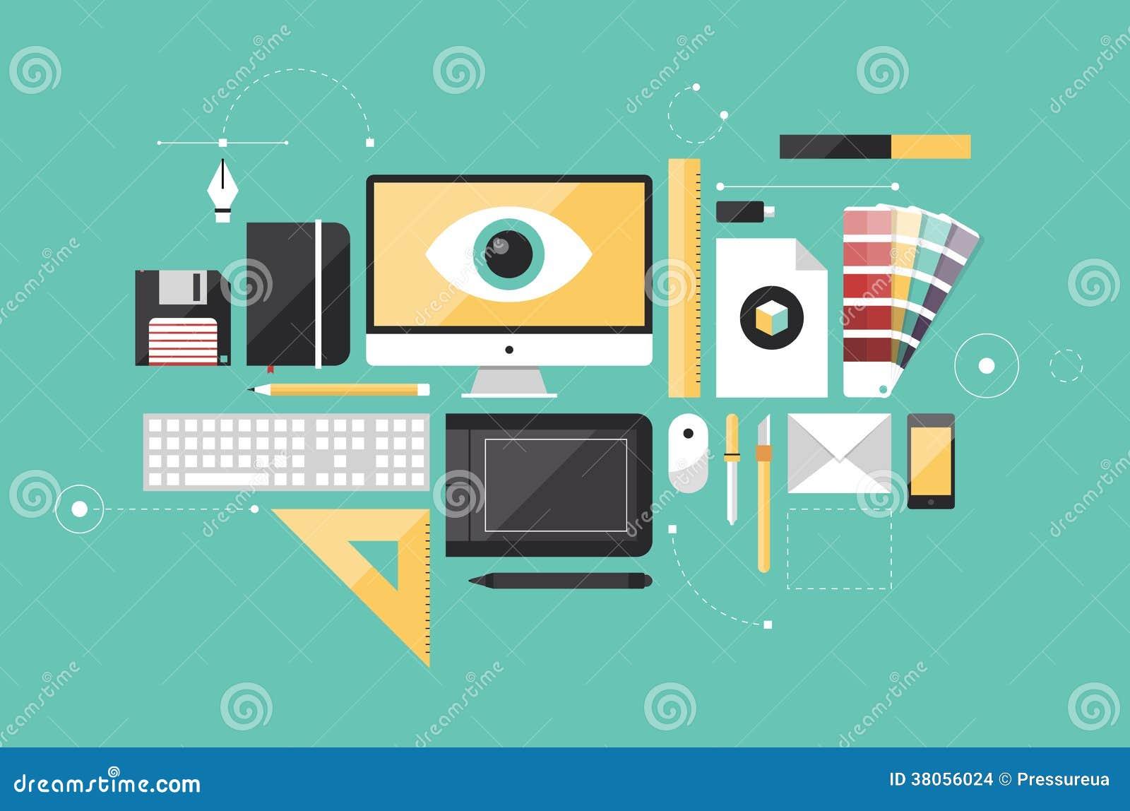 Graphic Designer Workplace Flat Illustration Stock Images