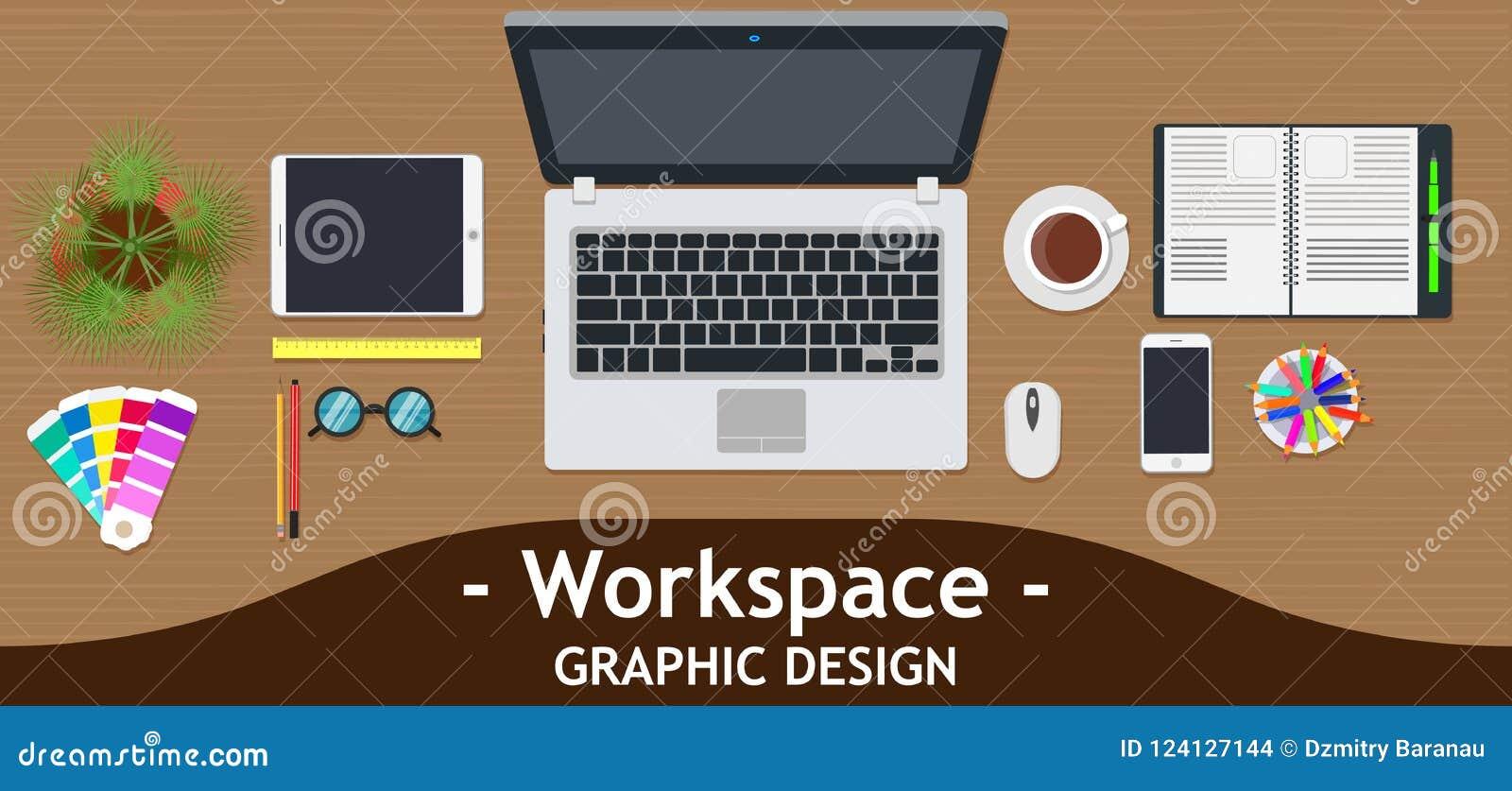 Graphic designer workspace office. Creative desk work vector. Business design art table studio concept top view. Flat color backgr