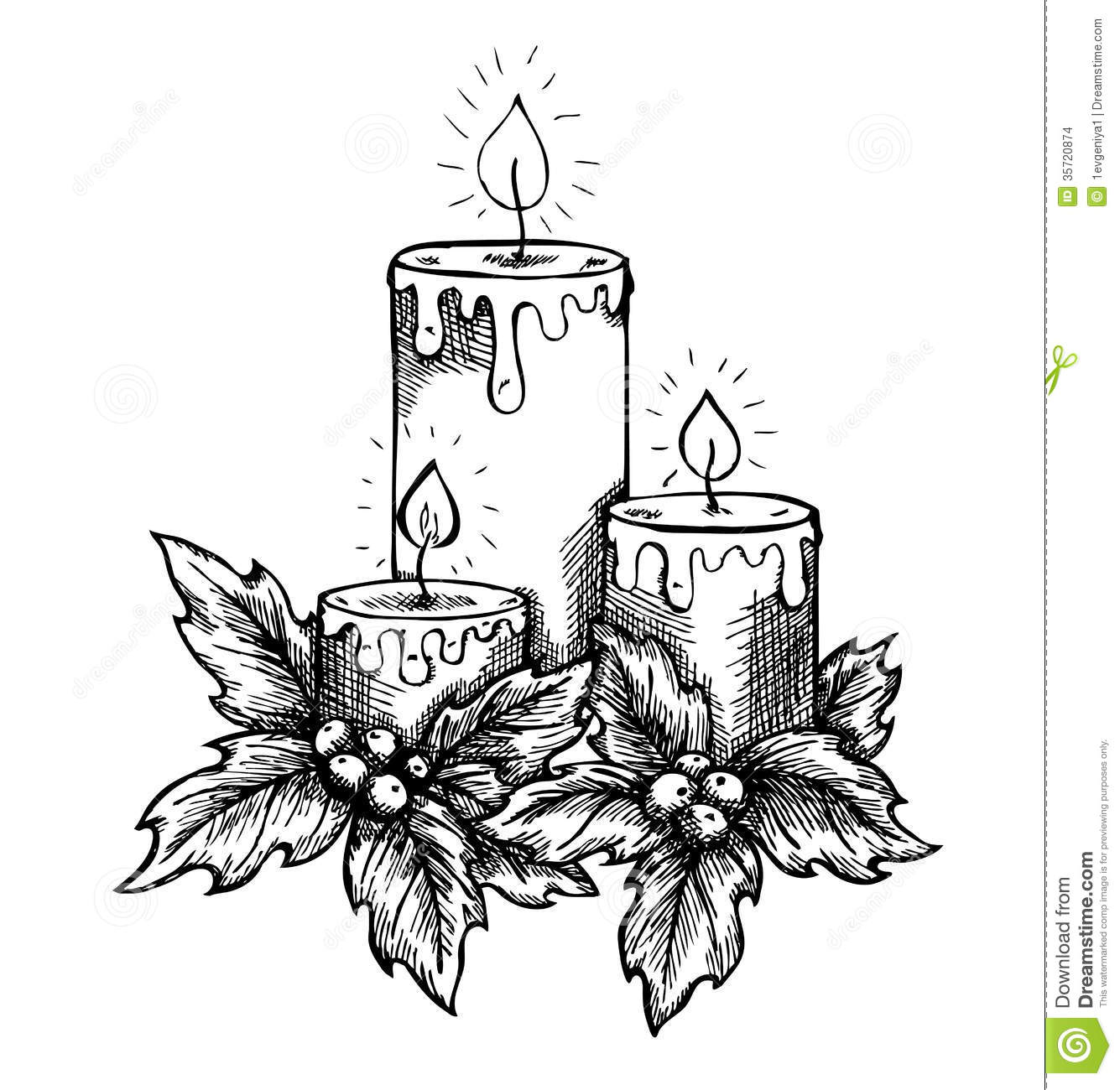 Graphic Drawing Candles And Holly Berries Leav Stock