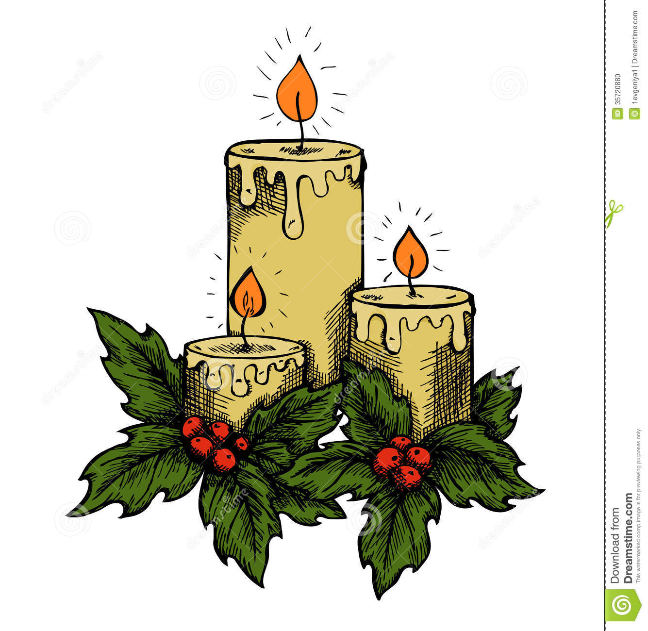 Graphic drawing candles and holly berries leaves.