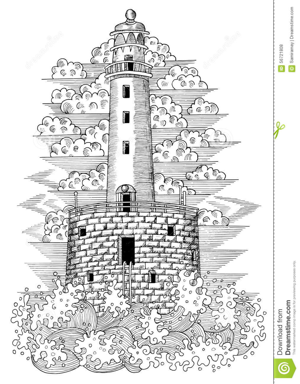 graphic drawing of light house 2 stock illustration illustration