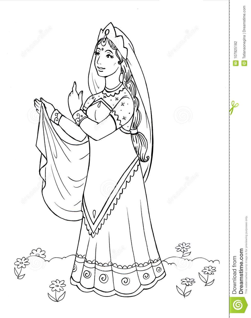 e7851321cd Beautiful Young Woman In Indian Dress Stock Illustration ...