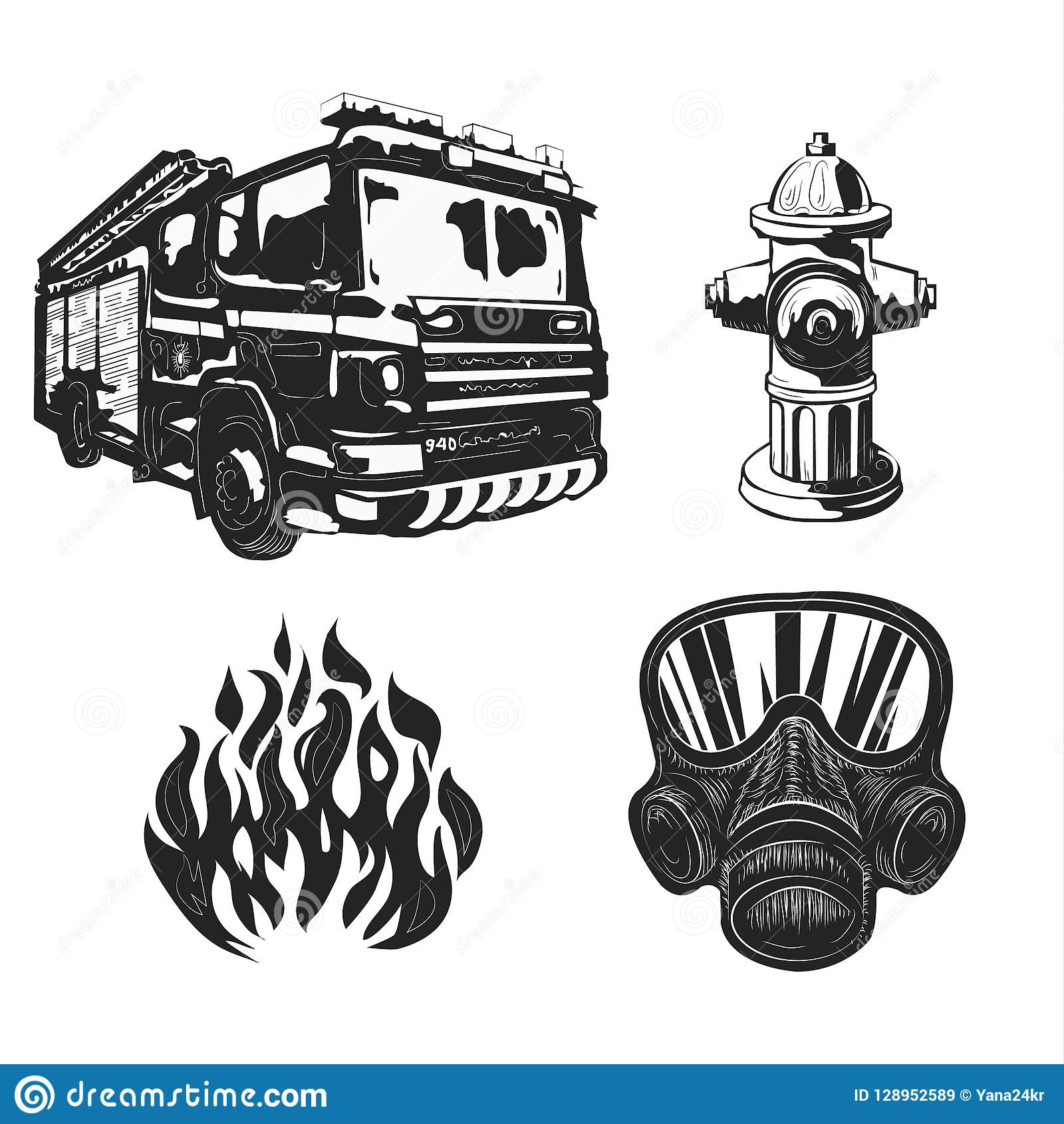 Graphic drawings Vintage poster with firemen