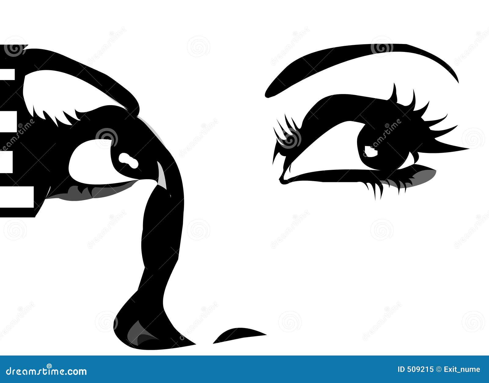Graphic Eyes Looking Up Stock Illustration Of Make Rh Dreamstime Com Anime Cartoon Upward