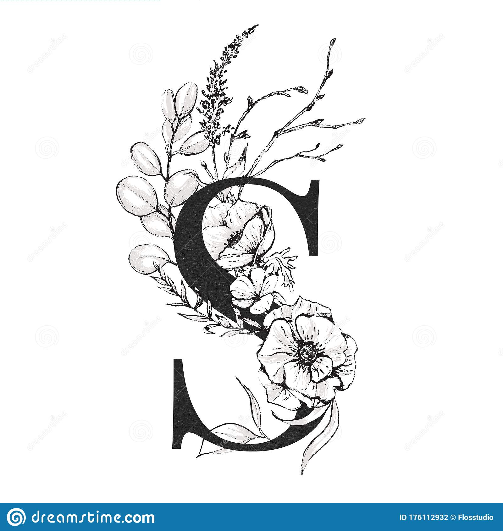 Elegant Wedding Monogram Collection: Letter S With Black And White