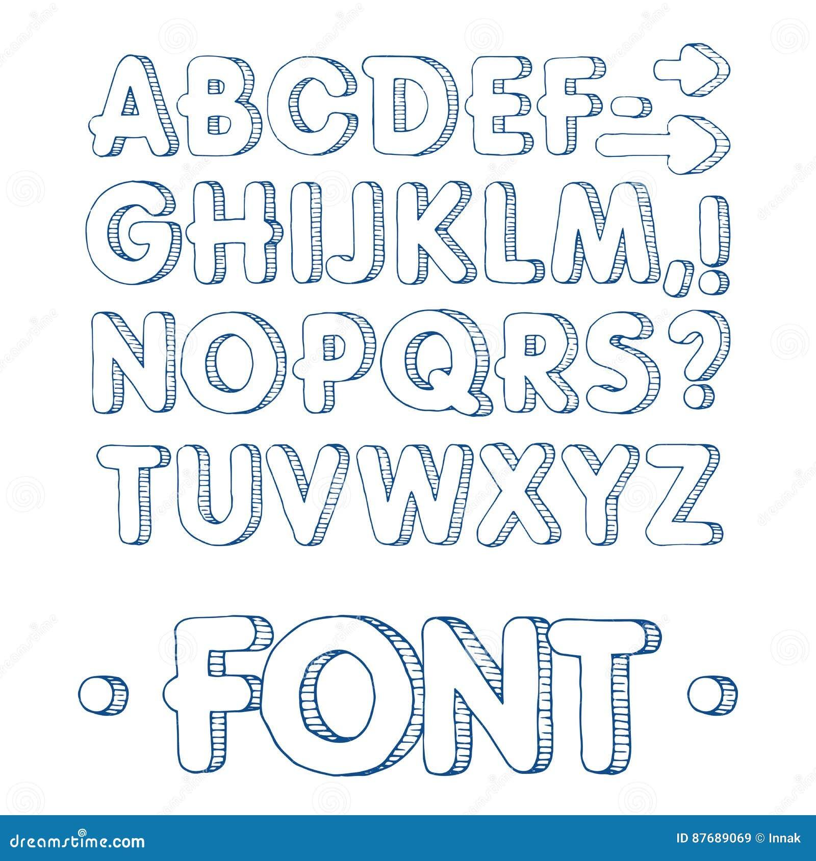 Text Decoration Italic: Hand Drawn Calligraphy Alphabet Vector Illustration