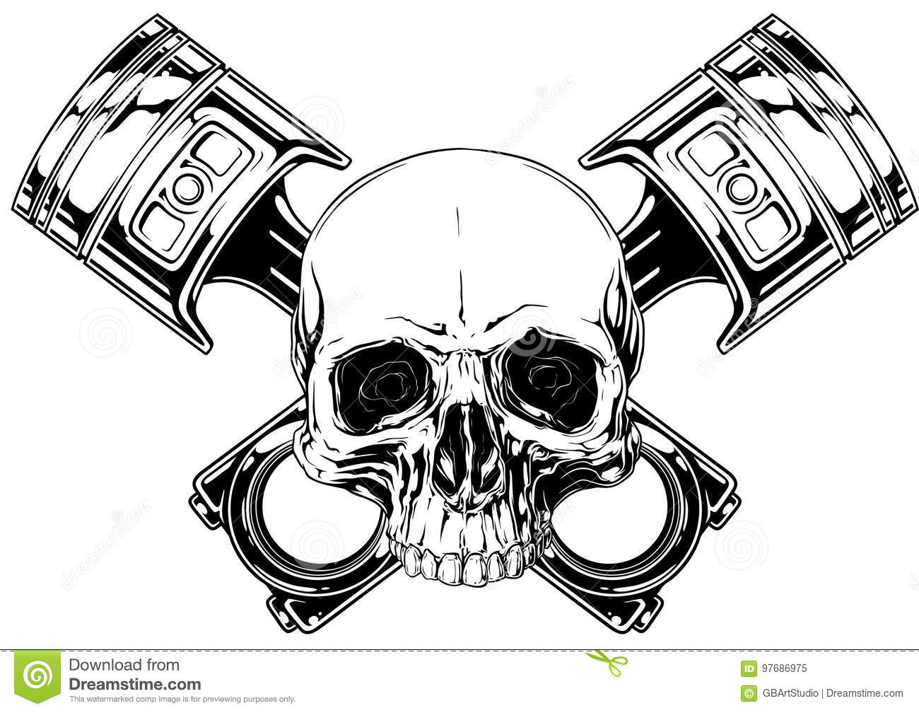 10b7dcb060e68 Graphic detailed black and white human skull with crossed car pistons on  white background vector