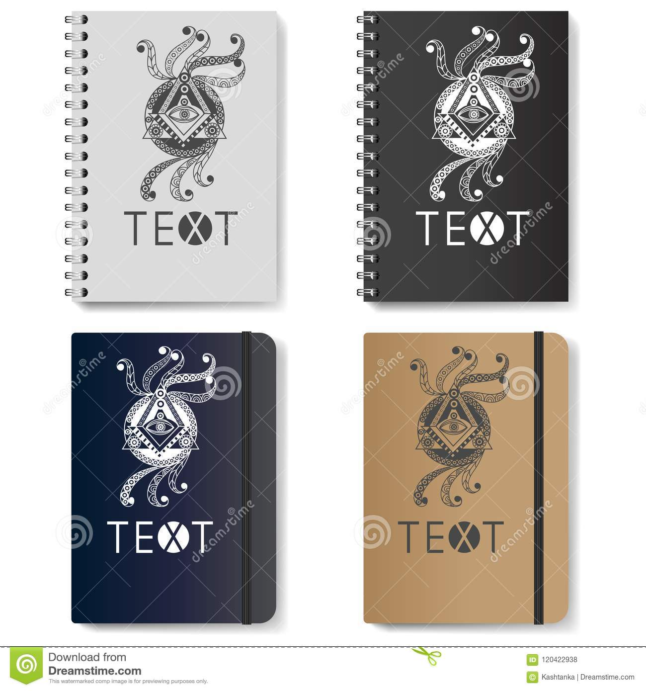 Graphic Illustration With Diaries With Symbols 3 Stock Vector