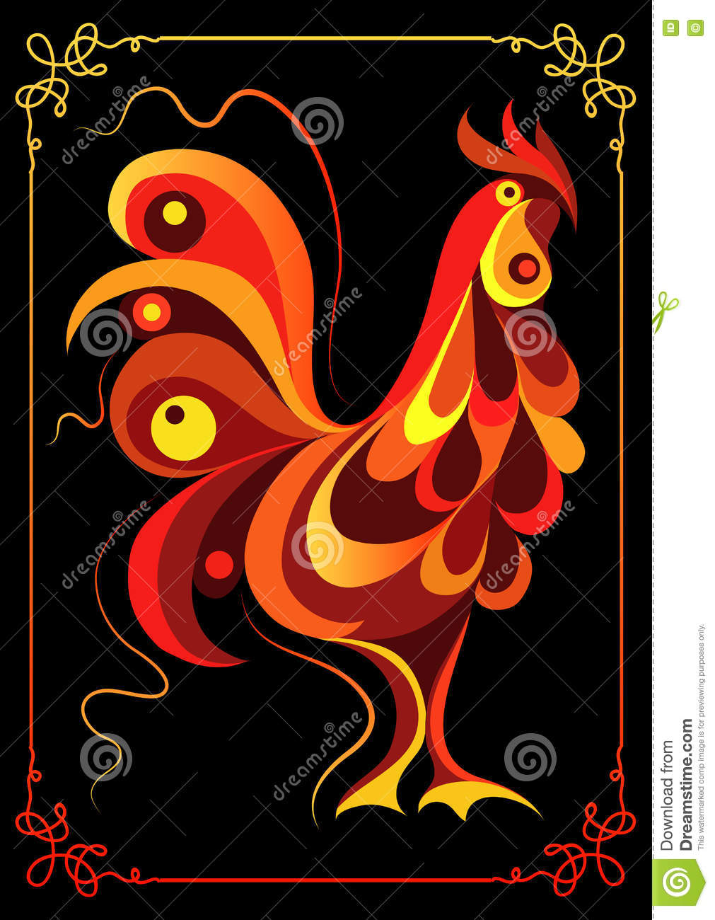 Graphic illustration with a fiery 3
