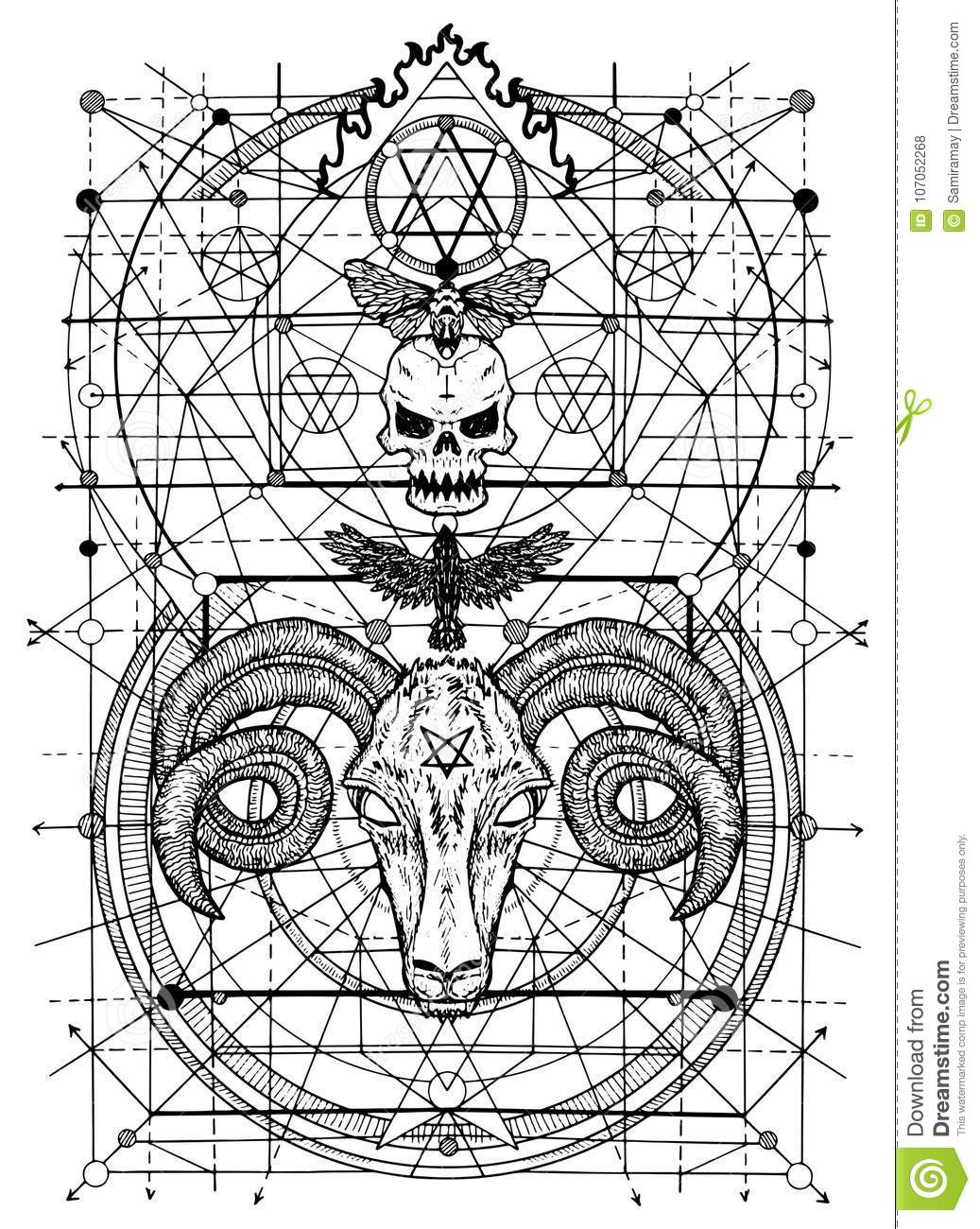 Graphic Illustrations With Symbols Of Death And Devil Signs Stock