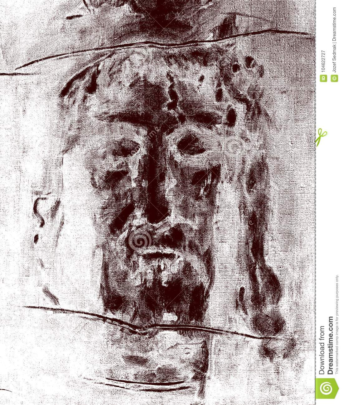 The Graphic Inspired By Jesus Christ Face From Shroud Of Turin Stock