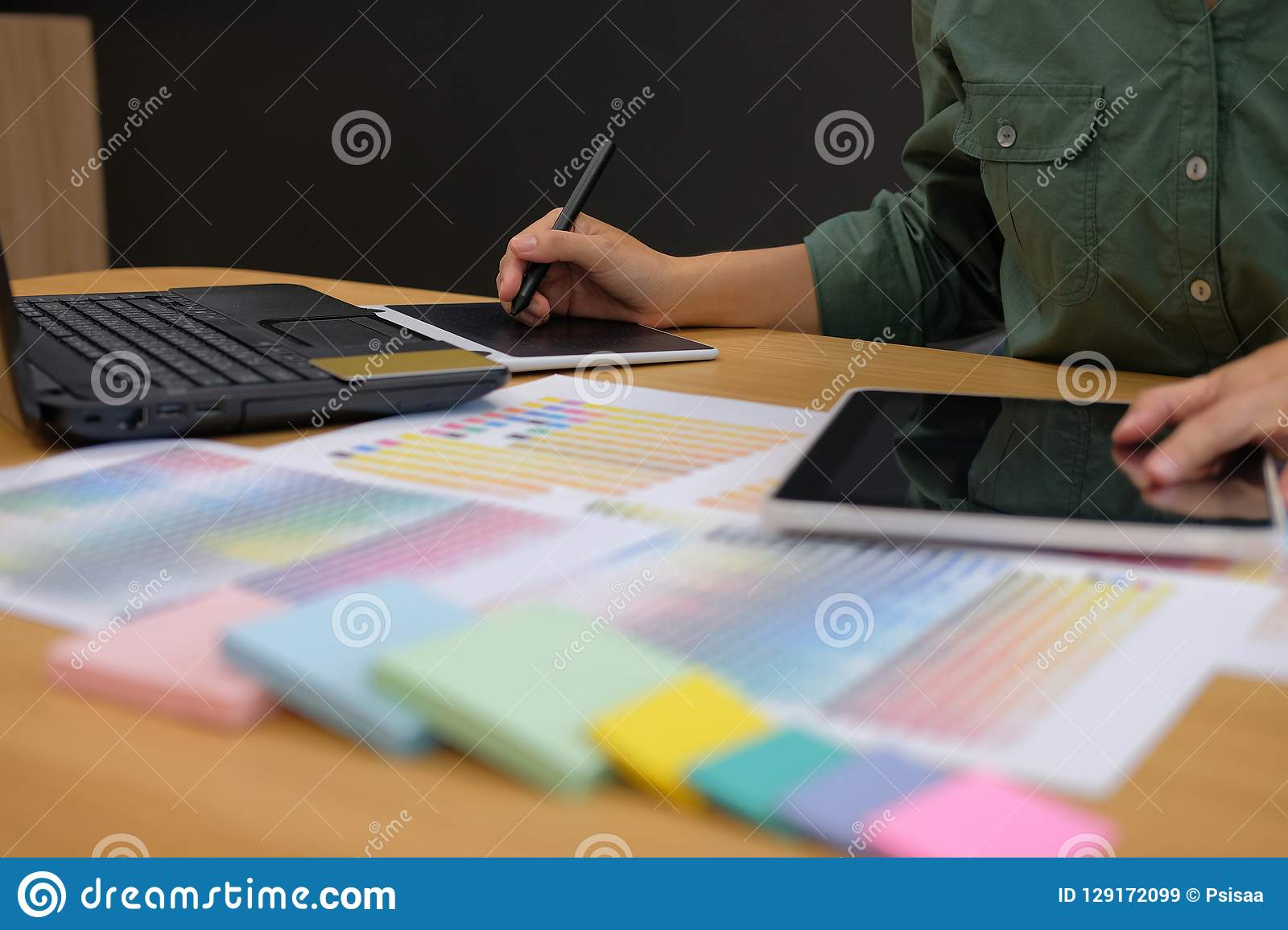 graphic interior designer working with tablet. creative man draw