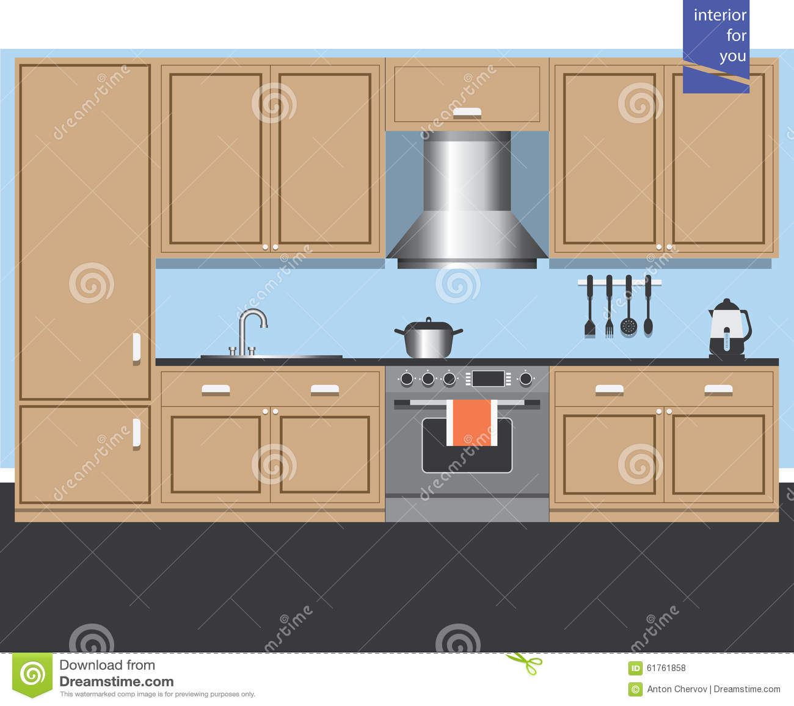 Graphic Kitchen Interior Card Stock Vector Image 61761858