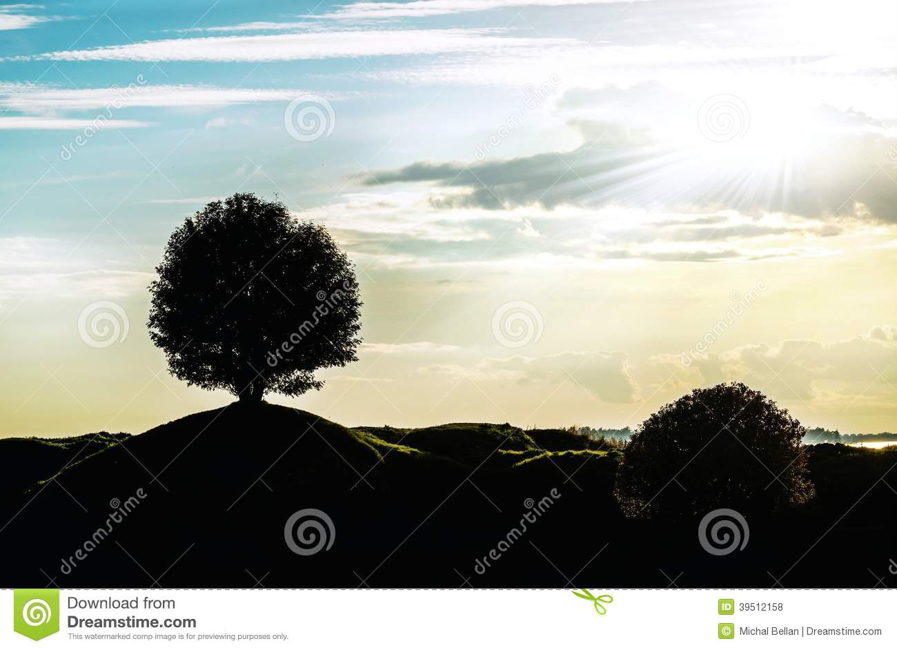 Graphic landscape silhouette with a signal tree