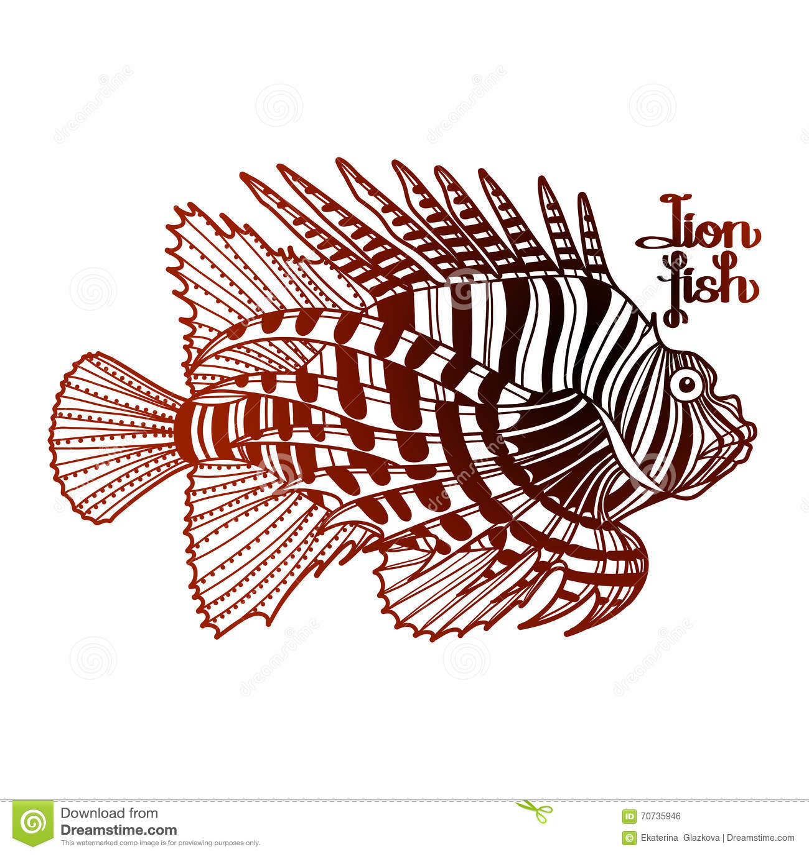 Graphic lion fish stock vector. Illustration of fish - 70735946