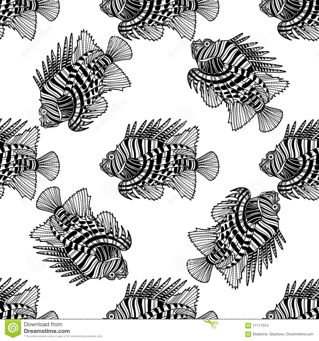 Graphic lion fish stock vector. Illustration of life - 71117374