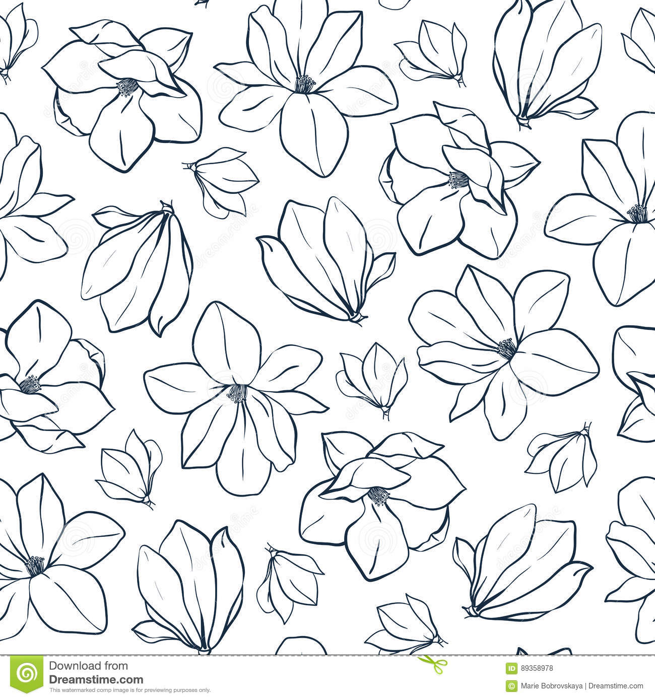 Coloring pages of flower buds - Graphic Magnolia Flowers And Buds Vector Spring Seamless Pattern Coloring Book Page Design For