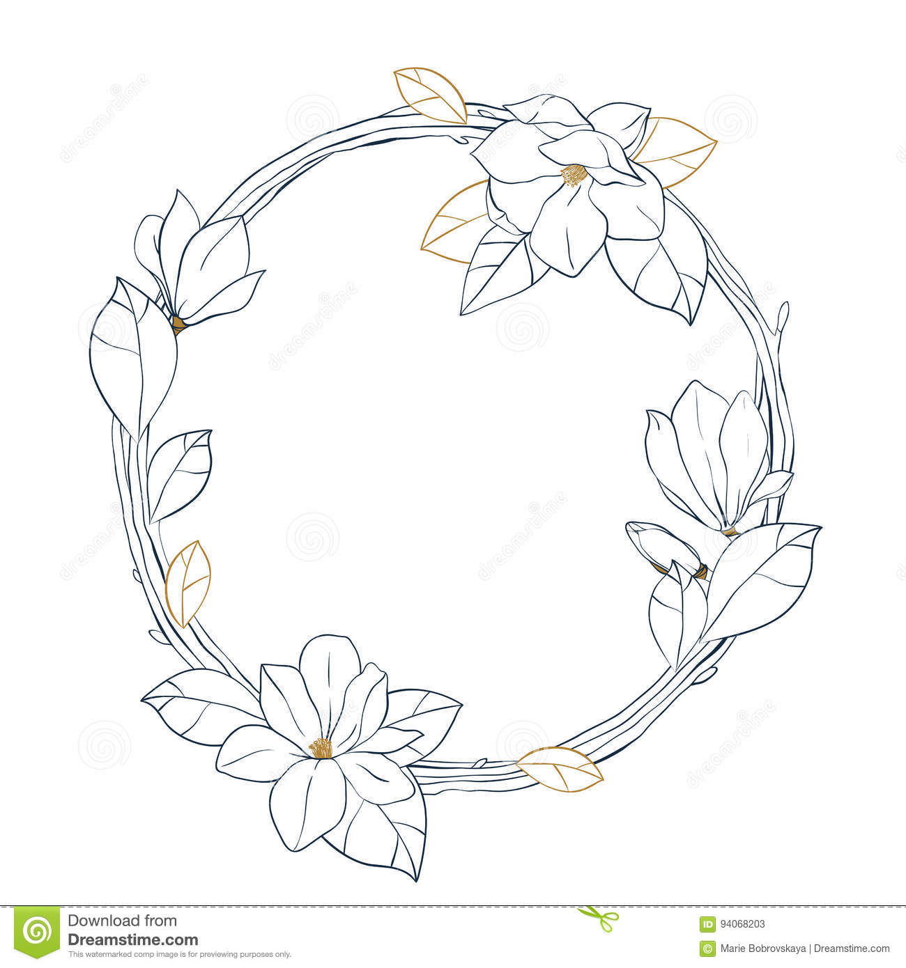 Download Graphic Magnolia WreathVector Floral Design Isolated On White Background Coloring Book Page