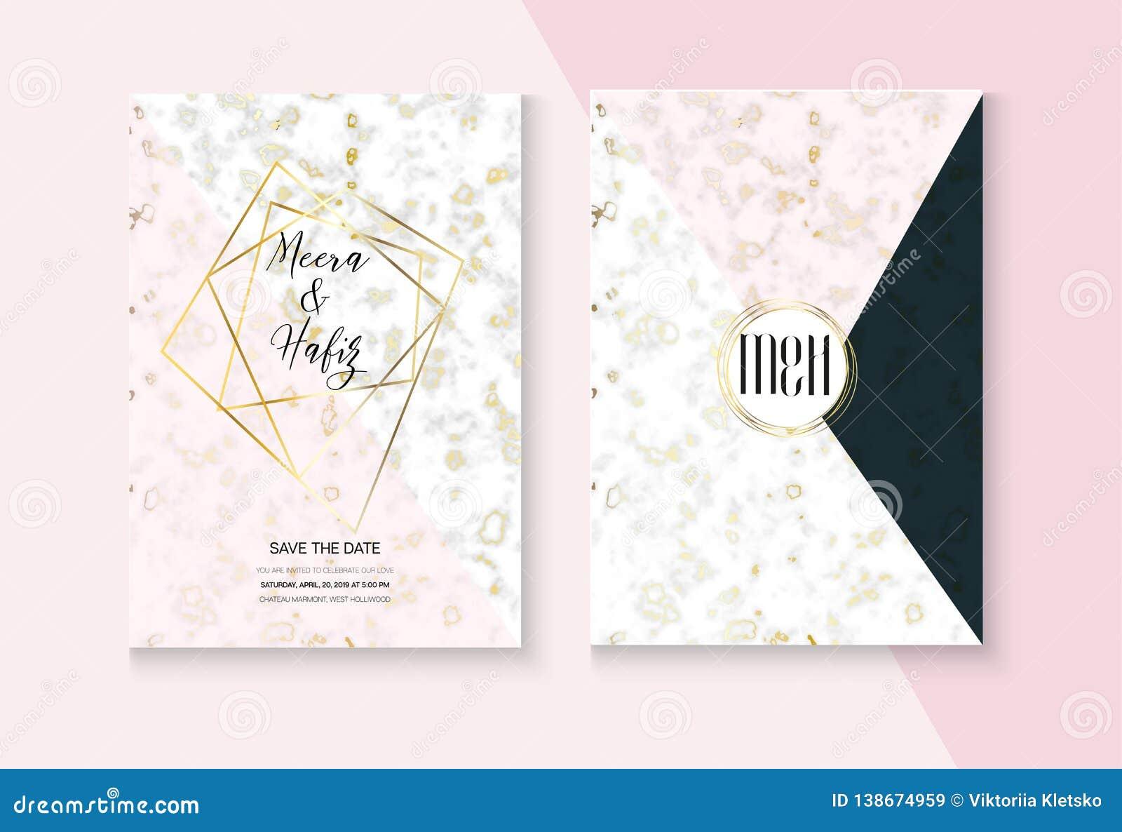 Graphic Marble Wedding Invitation Vector Set Rsvp Thank