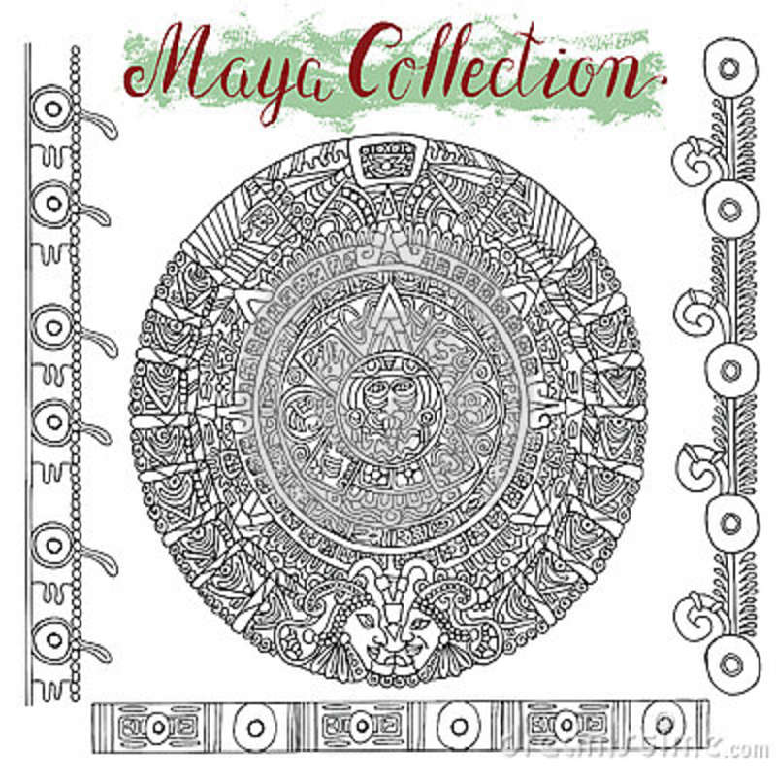 Graphic Maya Calendar With Mystic Symbols Stock Vector