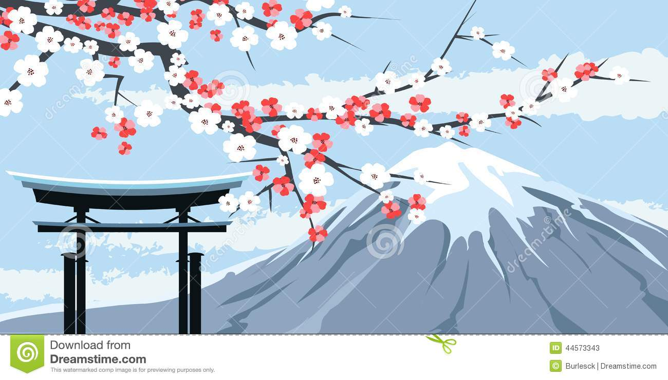 Graphic Of Mount Fuji With Cherry Blossoms Stock Vector