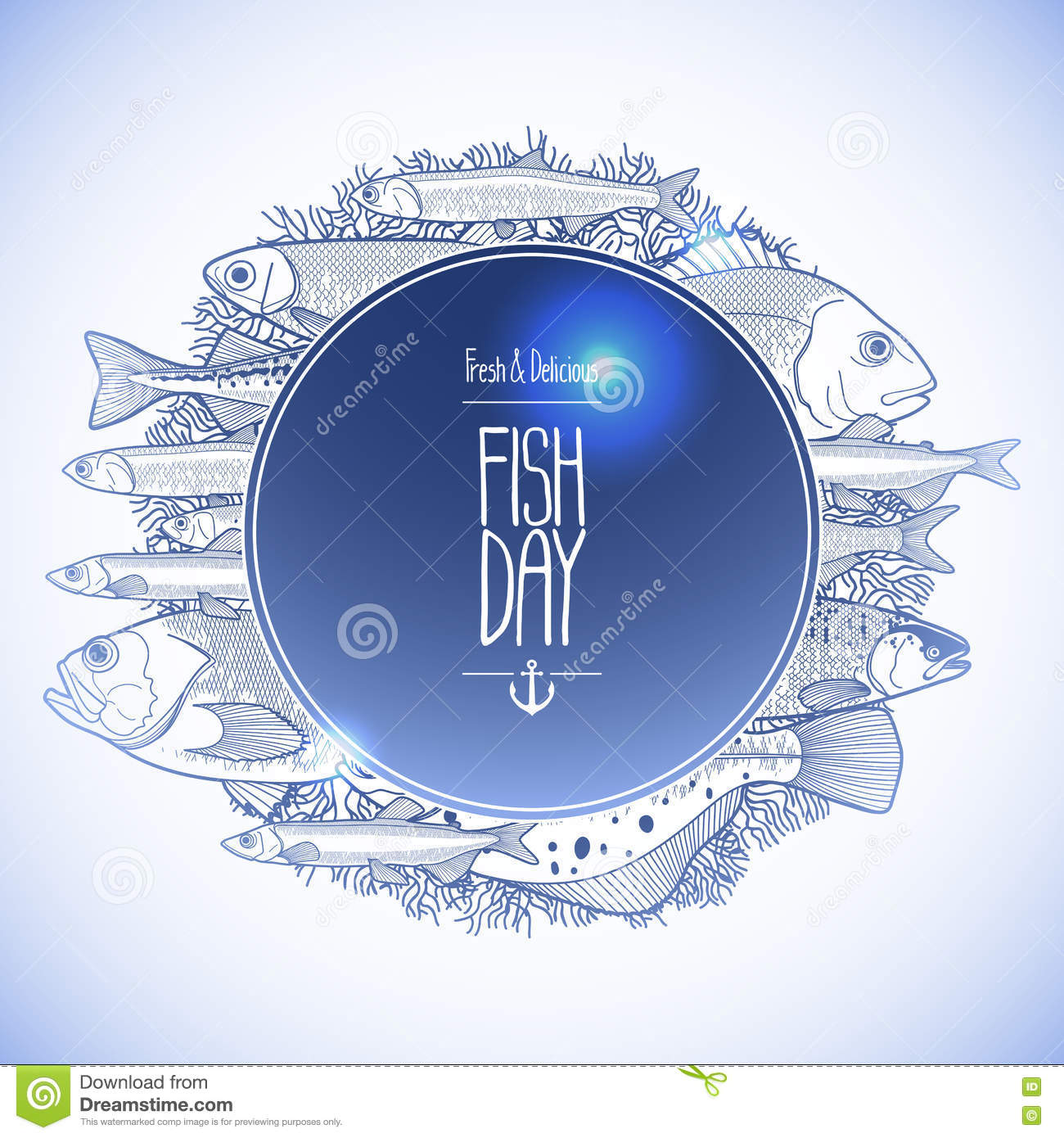Line Art Card Design : Graphic ocean fish design stock vector illustration of
