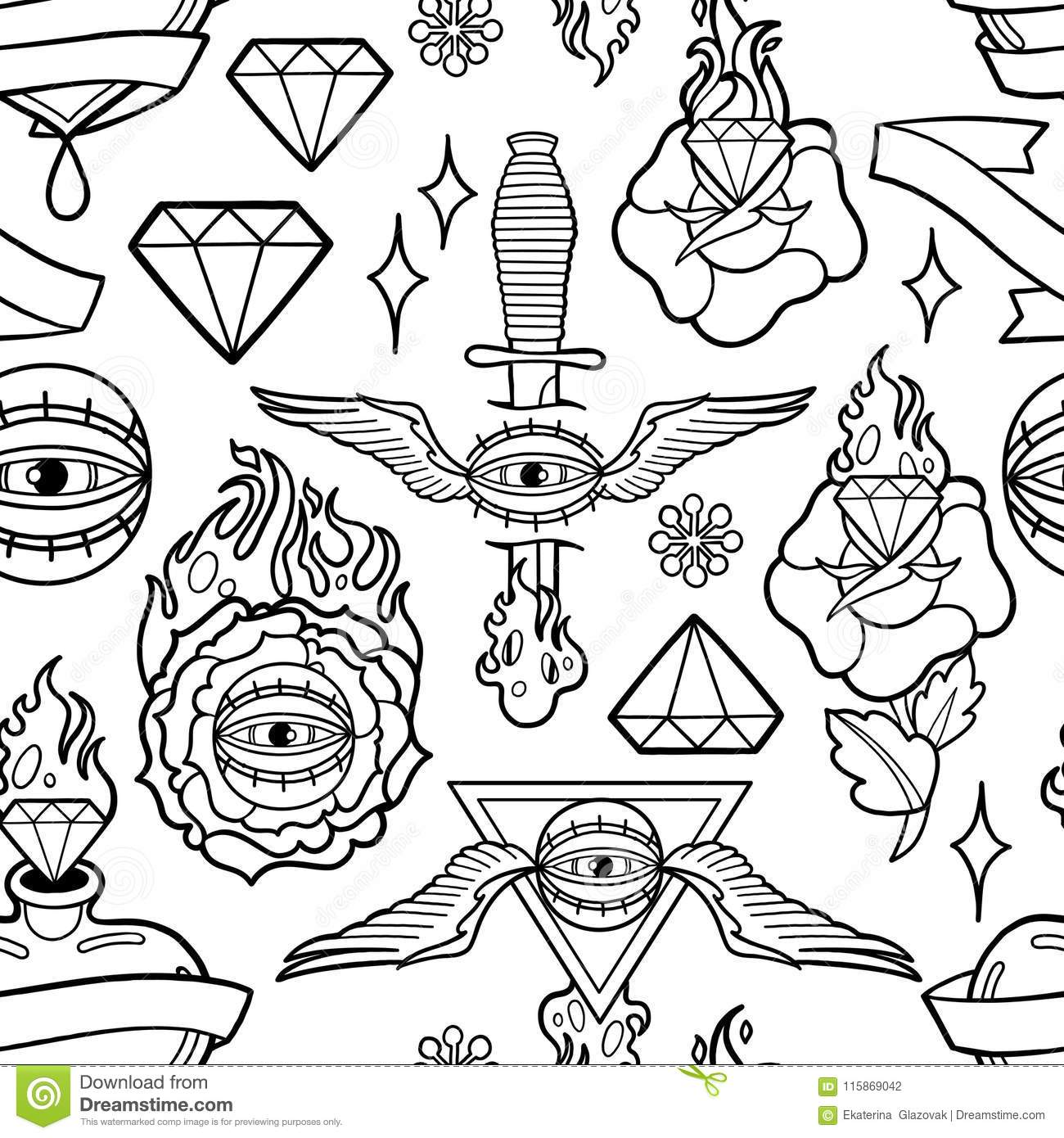 graphic old school pattern collection different patches inspired tattoo arts traditional design vector seamless coloring