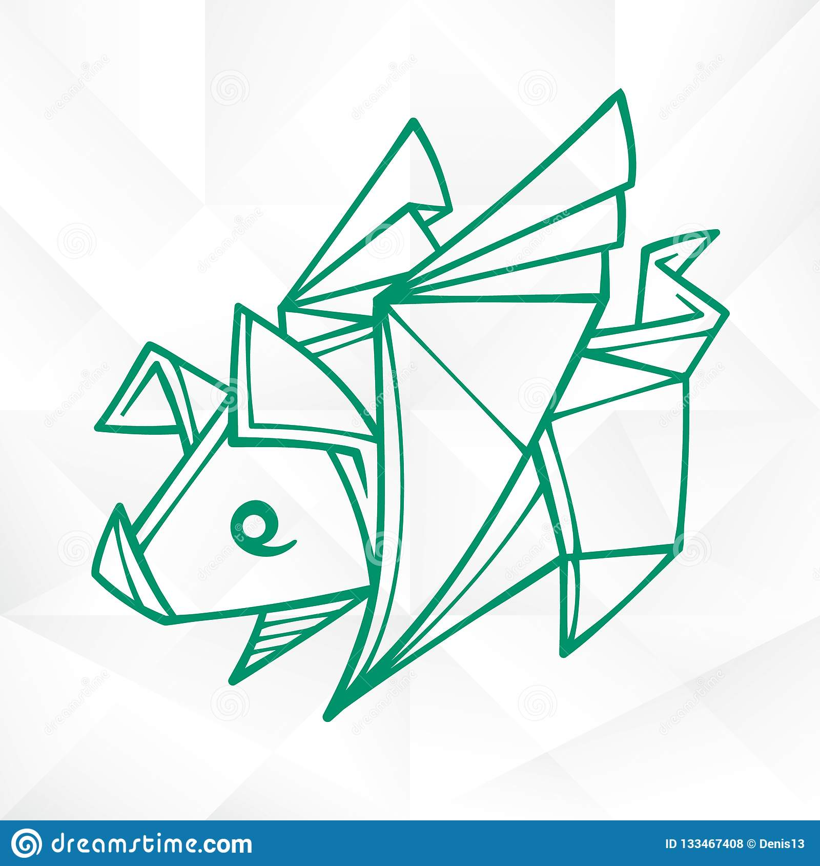 Graphic Origami Flying Pig. Geometric Icon of Paper Piglet with Wings