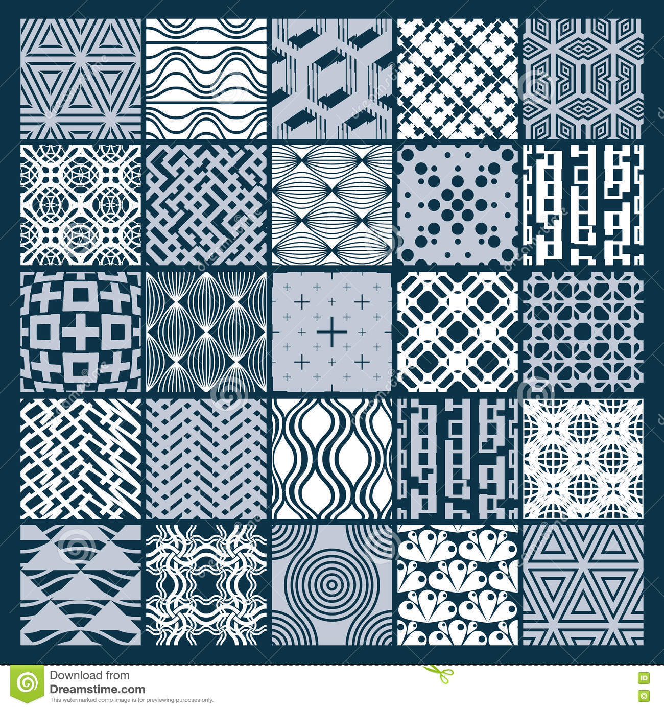 Graphic Ornamental Tiles Collection, Set Of Monochrome Vector Re ...