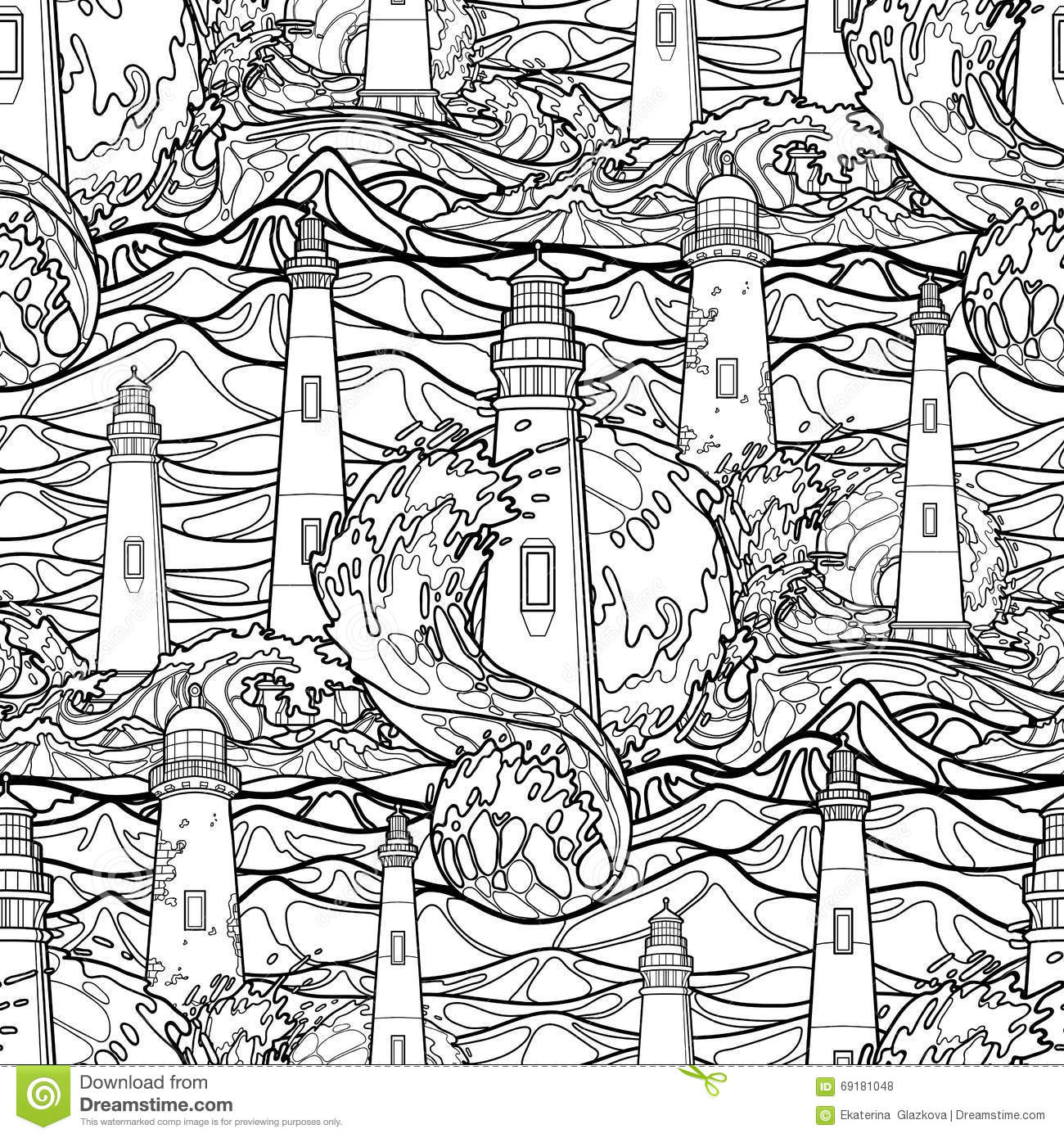 Graphic pattern of lighthouses during a storm stock vector for Graphic design coloring pages