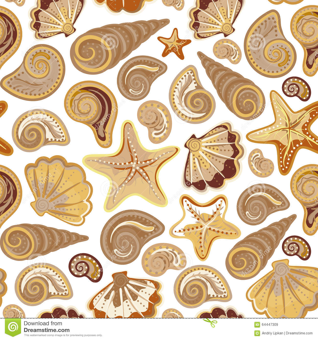 Graphic Pattern With Seashells, Sea Stars. Hand Drawing. Seamless For ...