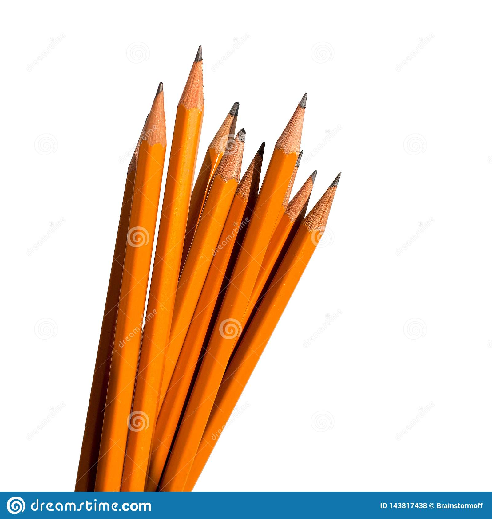 Graphic pencils on white background in group isolated close up macro