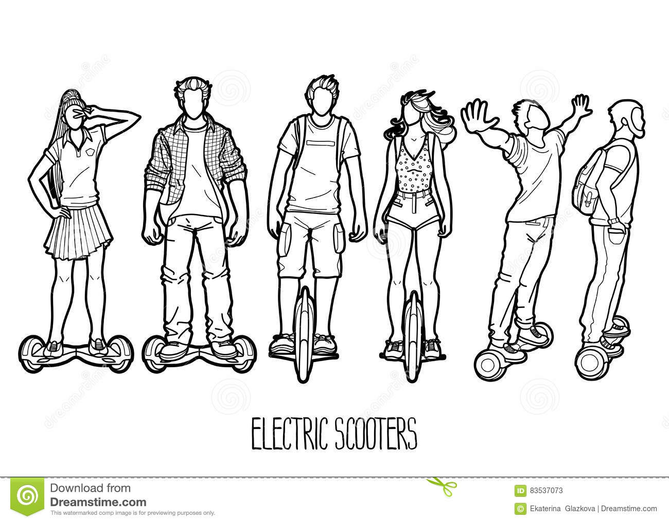 Line Art People : Graphic people riding on electric scooters cartoon vector