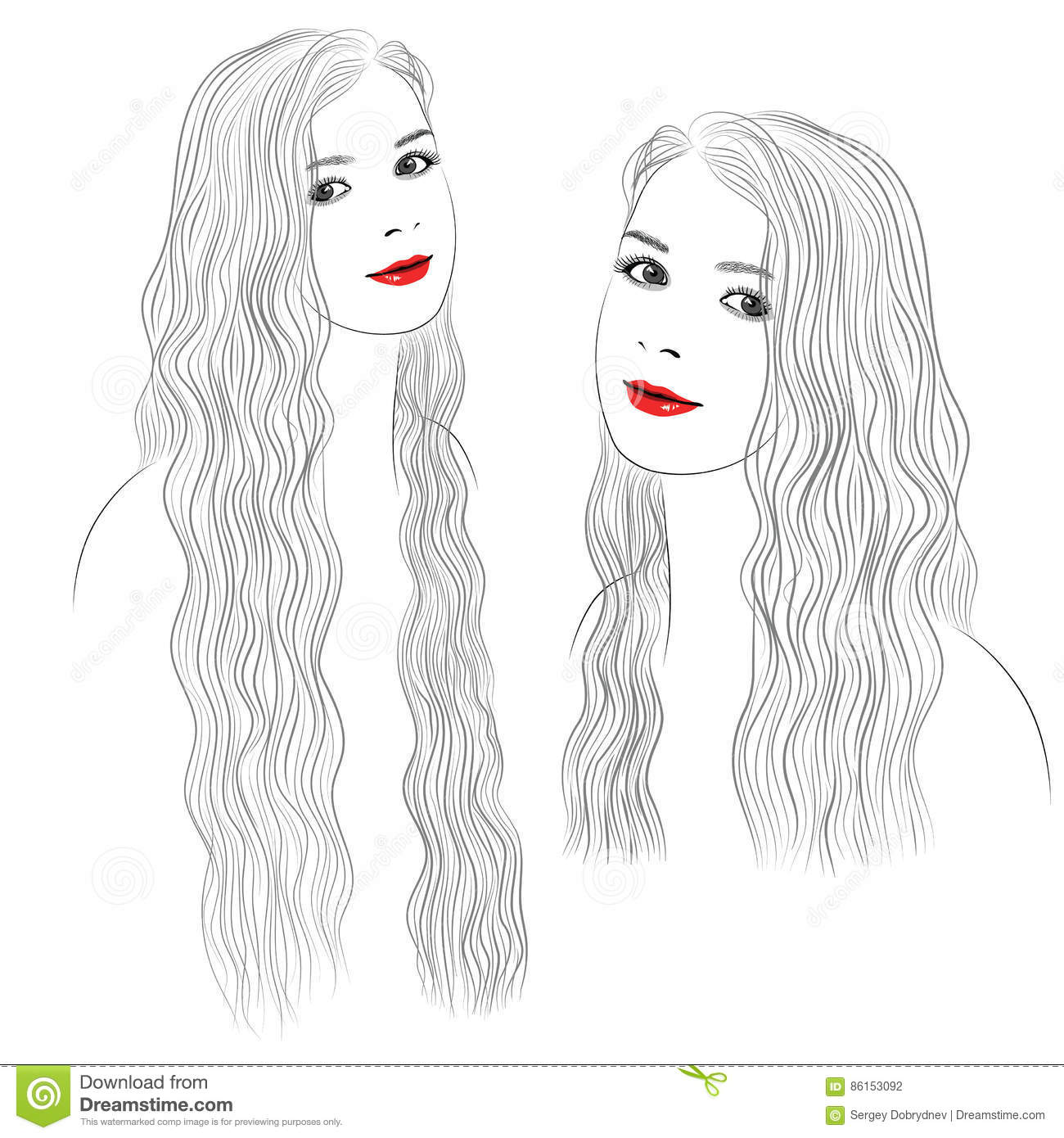 Graphic Portrait Of A Girl With Long Wavy Hair Stock