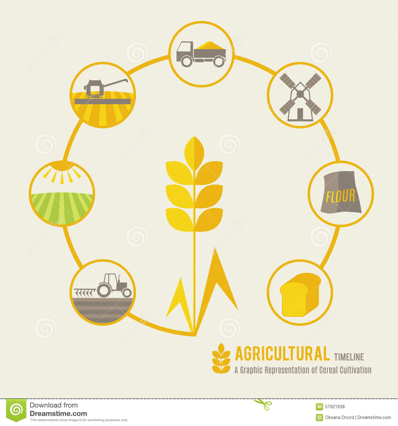A Graphic Representation Of Cereal Cultivation Stock