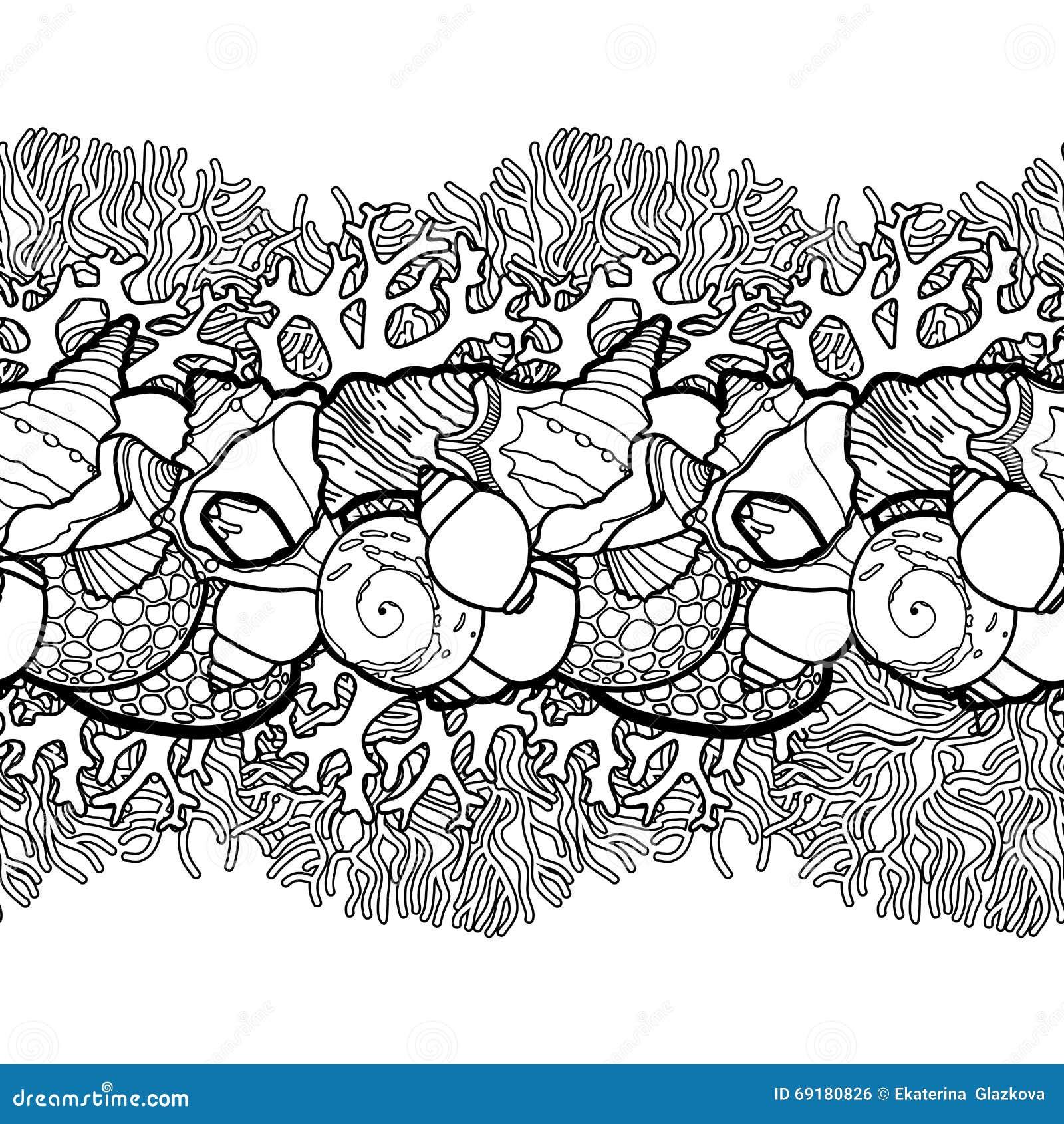 Download Graphic Seashells Border Stock Vector Illustration Of Ocean