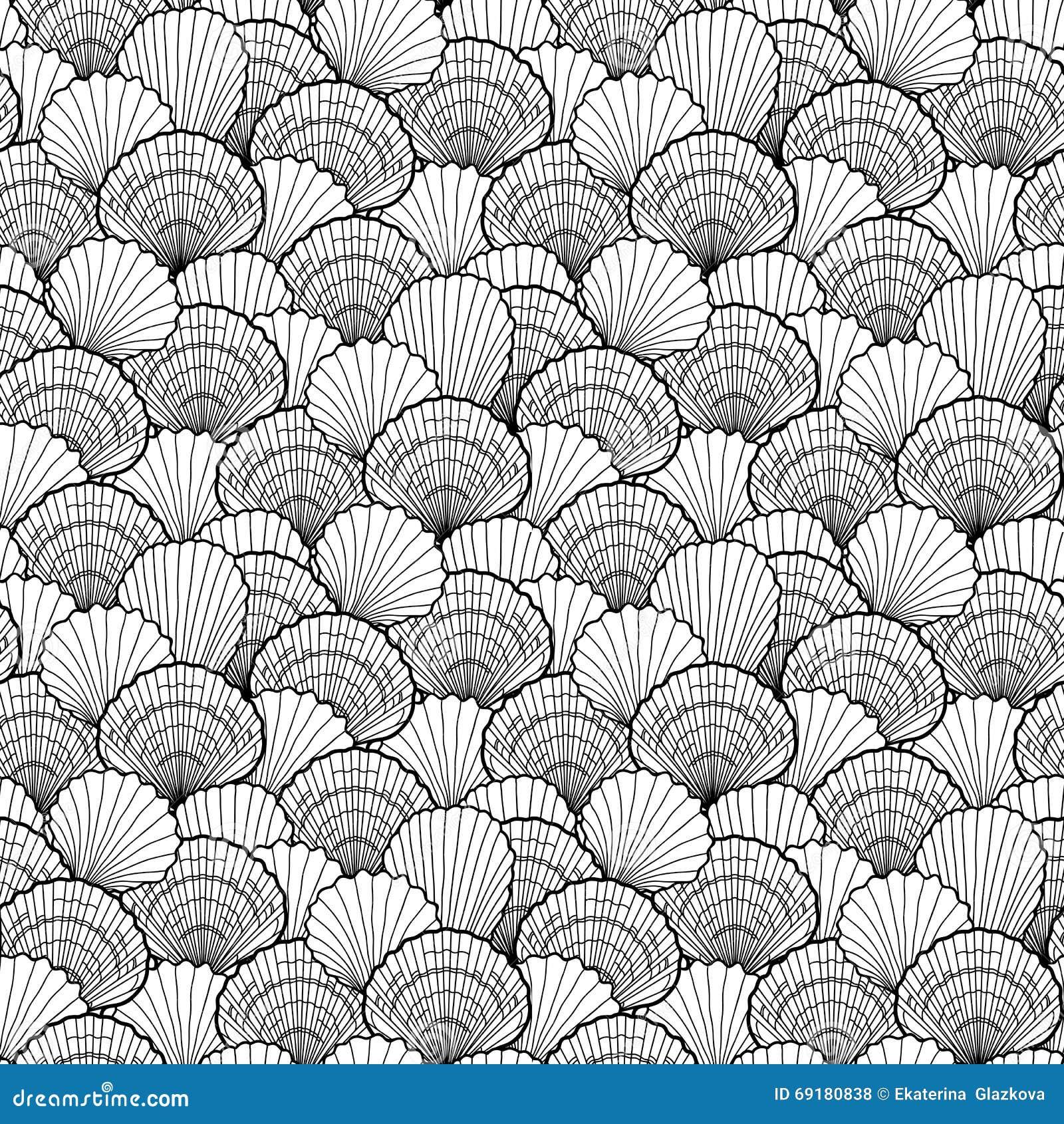 graphic seashells pattern stock vector image 69180838