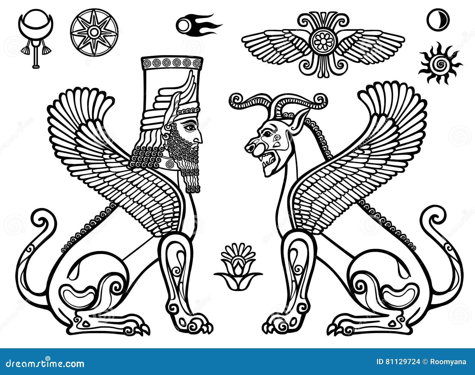 Mythology stock illustrations 36969 mythology stock illustrations graphic set figures of the assyrian mythology a lion and a sphinx of people buycottarizona Image collections