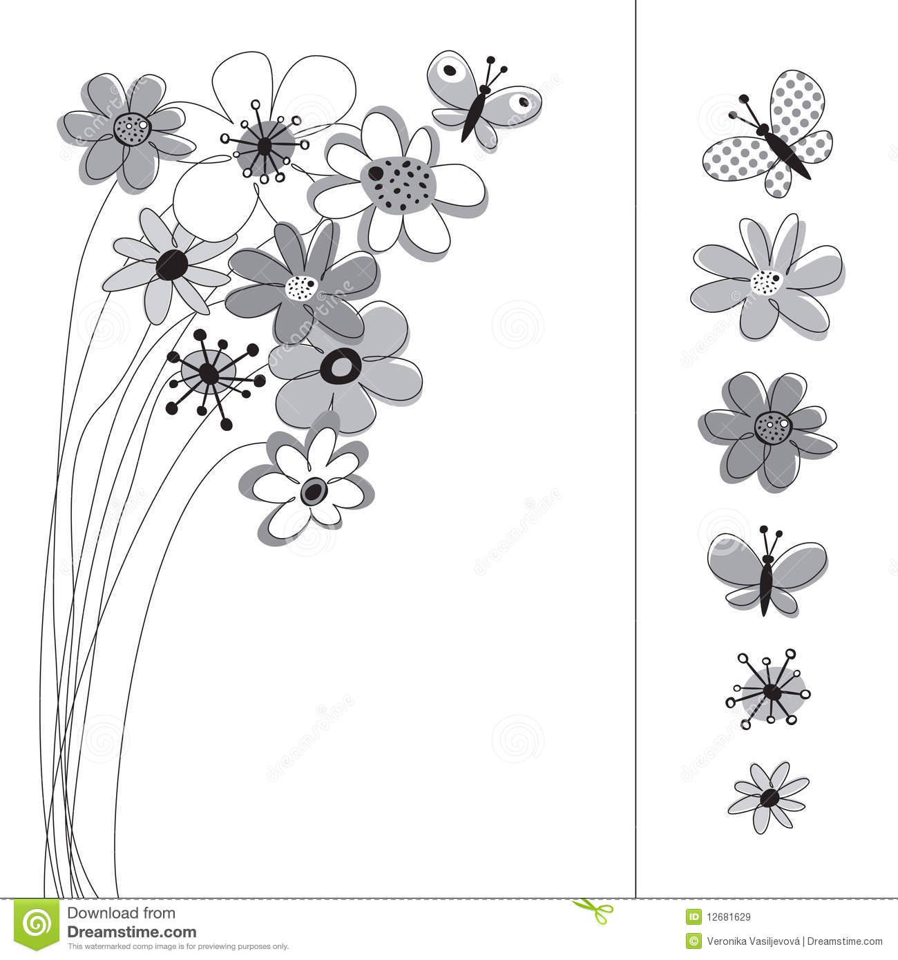 Graphic Set With Flowers Stock Vector Illustration Of Butterfly