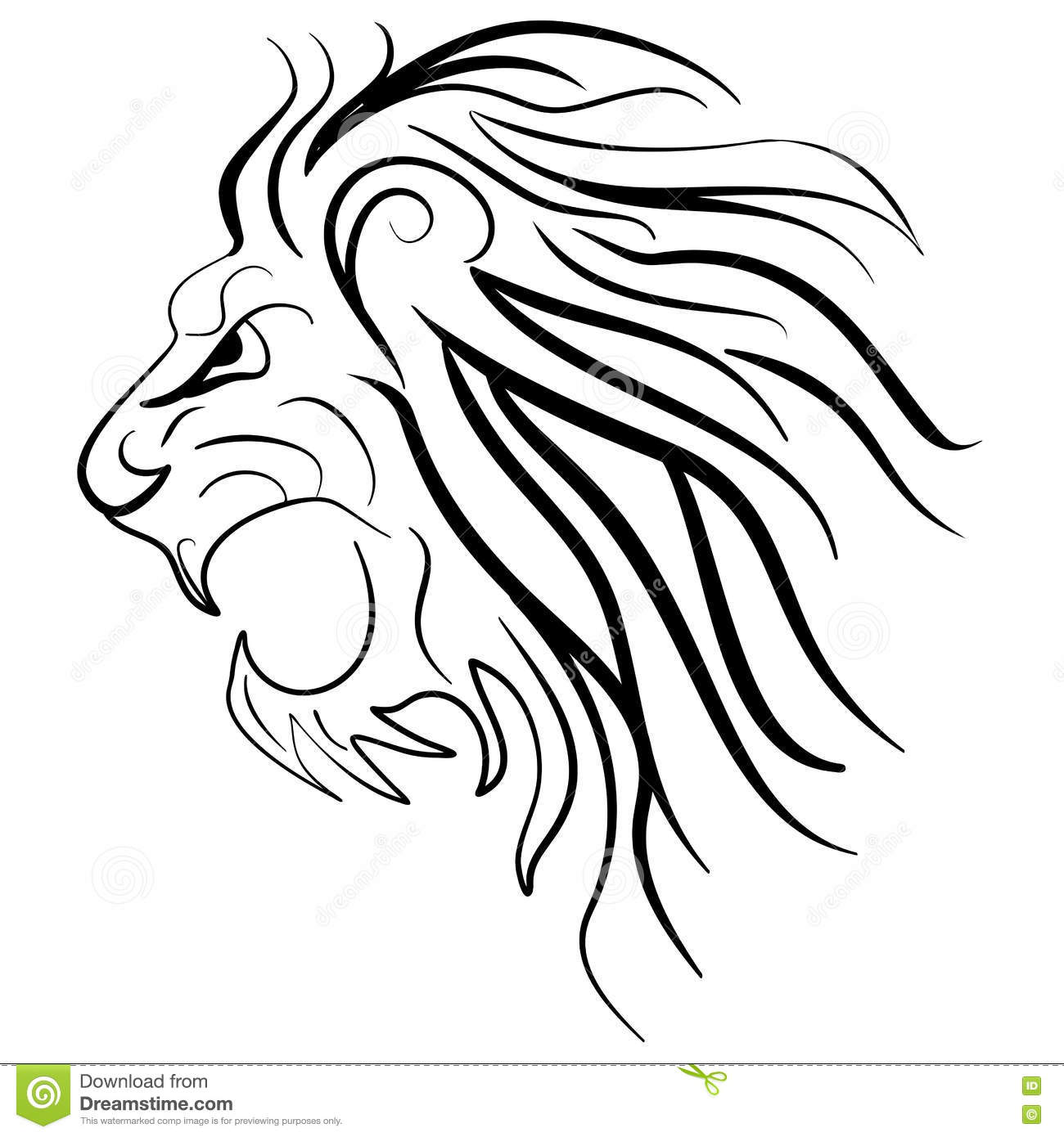 Graphic Silhouette Roaring Lion Stock Vector Illustration Of Icon