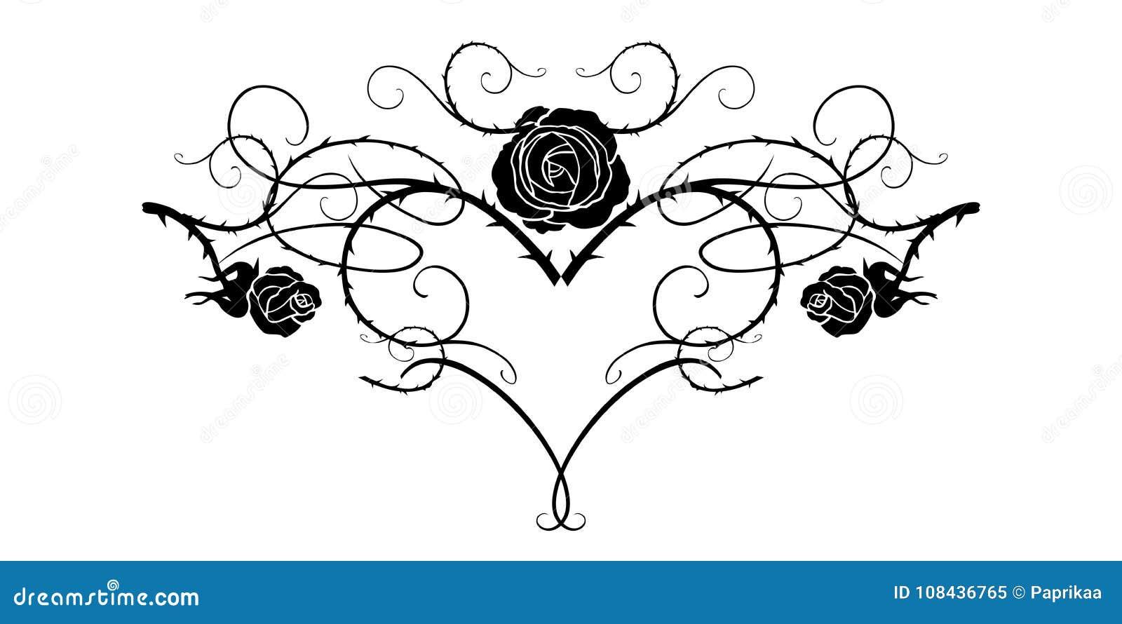 Black Tattoo Flower Stock Vector Illustration Of Line 108436765