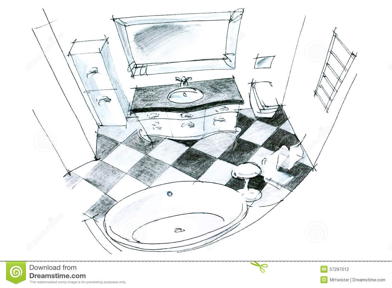 Bathroom perspective drawing - Graphic Sketch Of A Bathroom Stock Photography