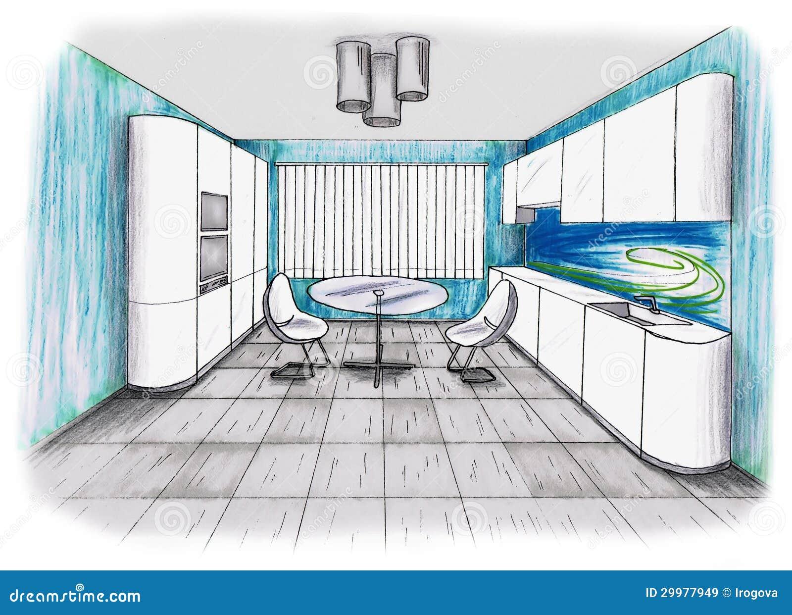Graphic sketch an kitchen stock illustration. Illustration of ...