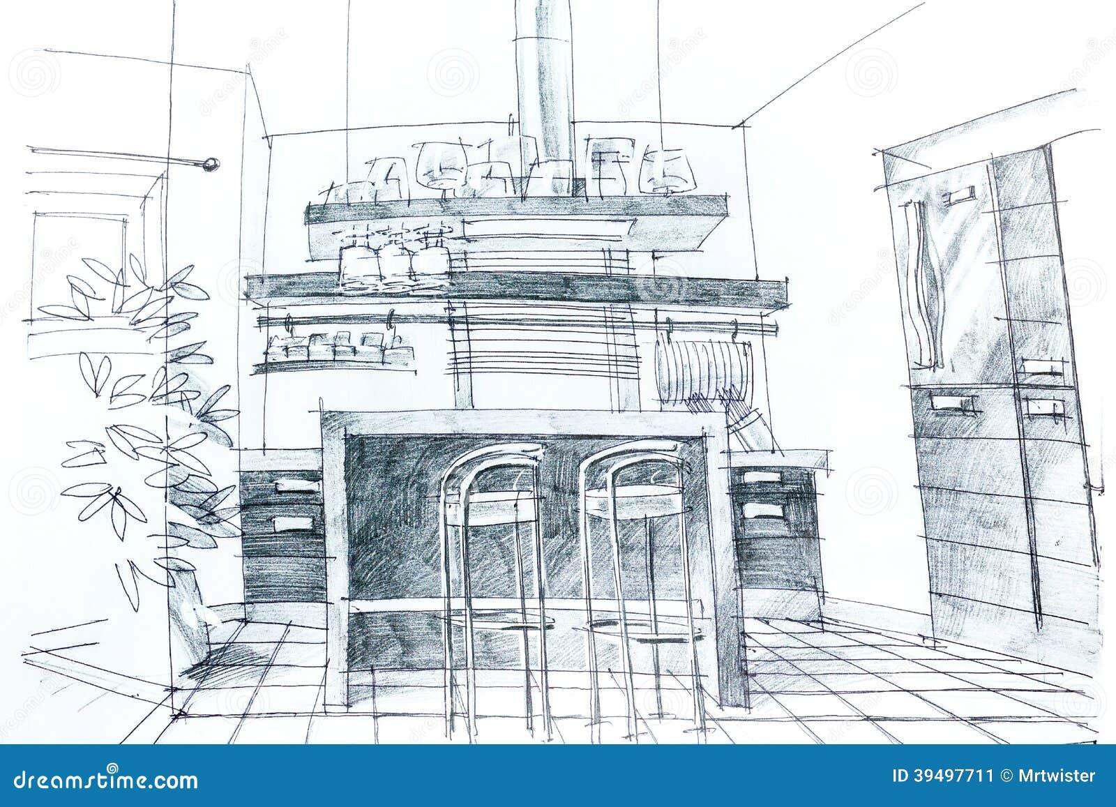 Graphic sketch of kitchen stock illustration. Illustration of ...