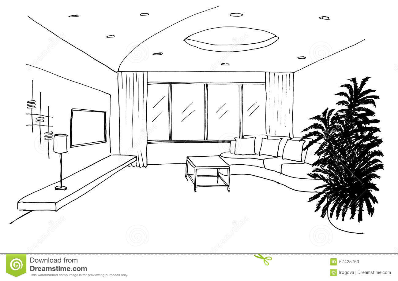 Graphic Sketch Living Room Stock Illustration Image 57425763