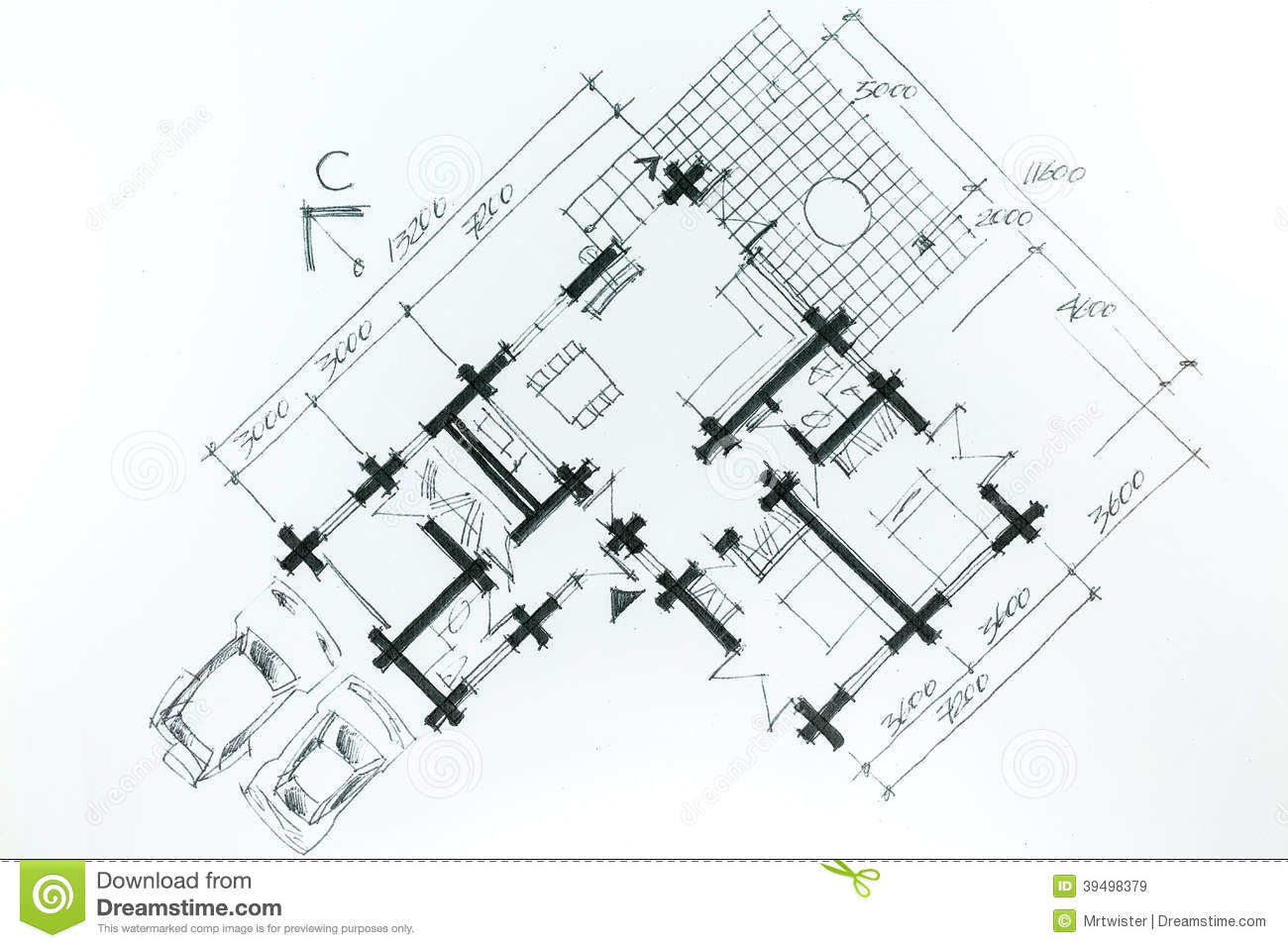 Graphic sketch of new house stock illustration image for House sketch plan