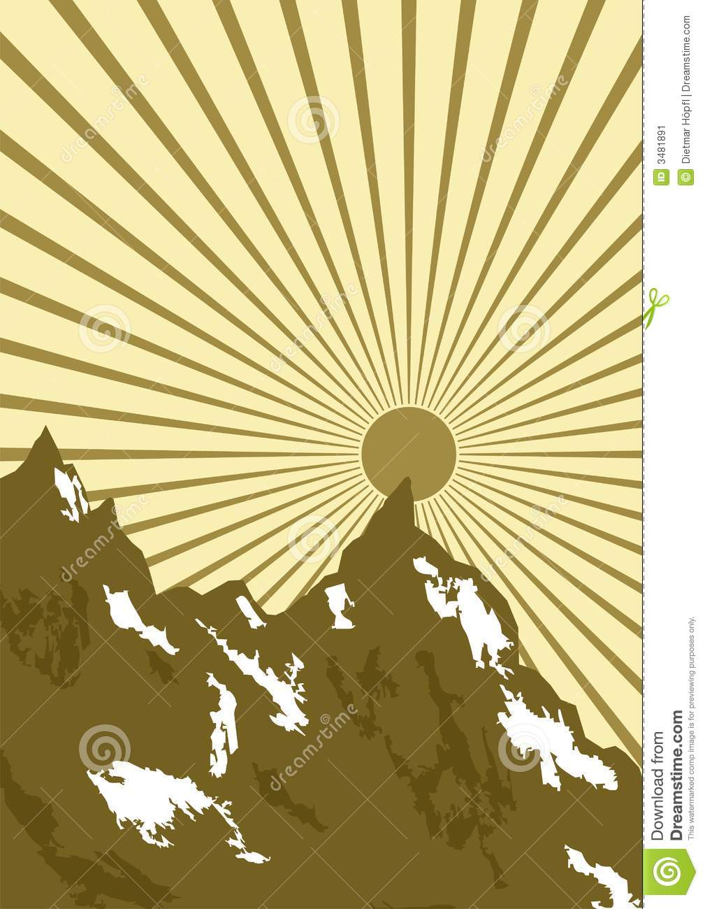 Graphic Of Sun Over Mountains Stock Image Image 3481891
