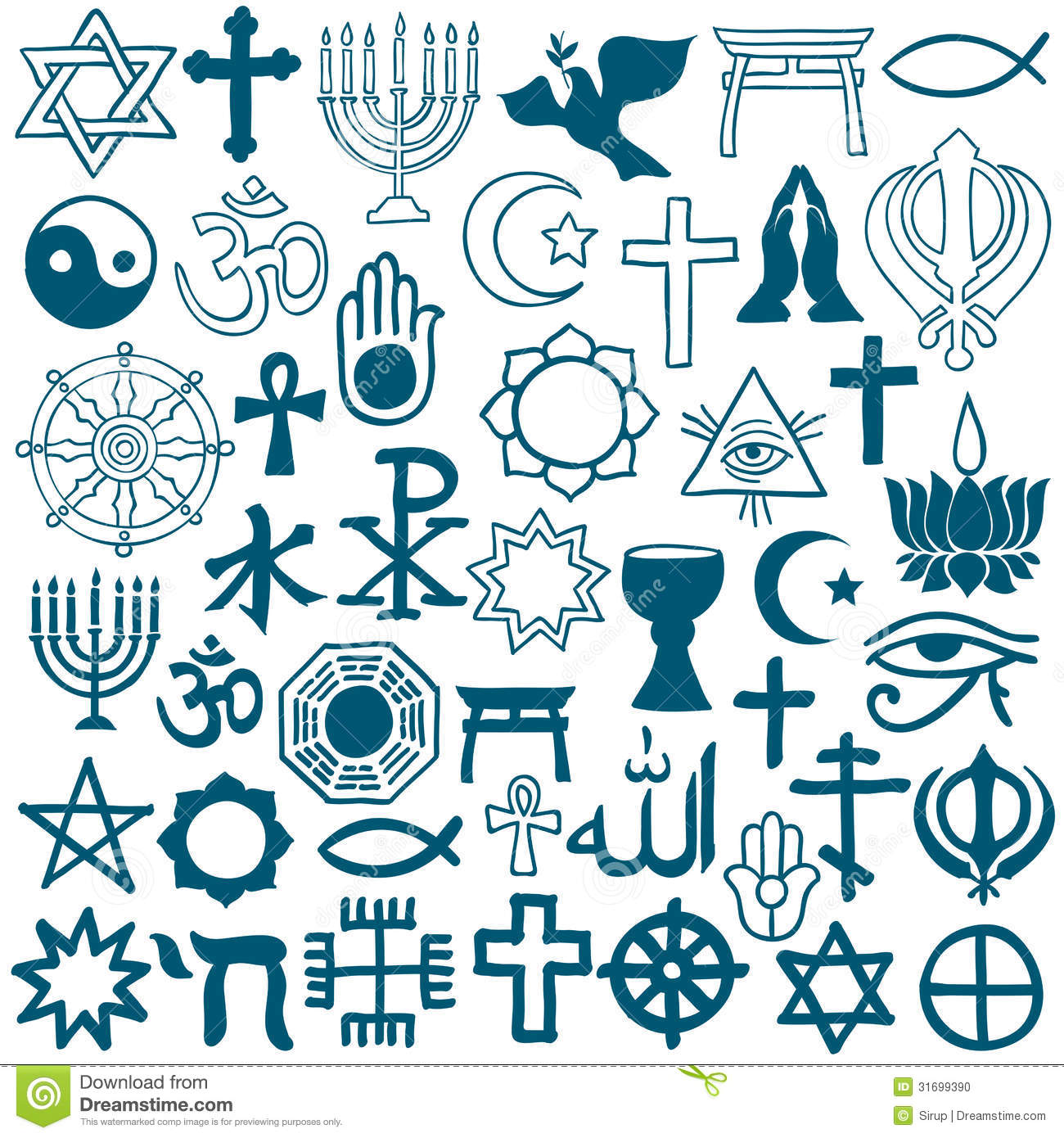 Graphic Symbols Of Different Religions On White Stock Vector